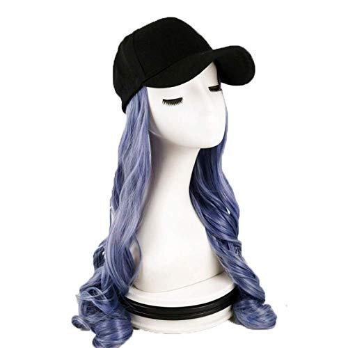 pruiken Pruik vrouwelijke roet blauwe hoed pruik een stuk waas blauw lang krullend haar grote golf simulatie hoge temperatuur draad pruik hoed