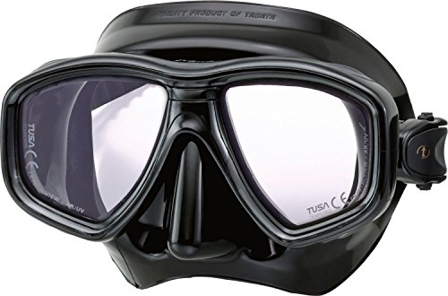 TUSA Tauchmaske M-212 SQB Freedom Ceos Pro, UV FIlter, Optische Gläser kompatibel - silikon schwarz