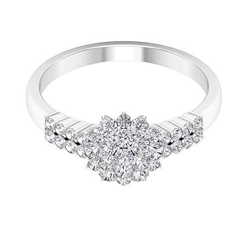Anillo de compromiso de flores, 3/4 ct HI-SI, anillo de diamante, anillo de boda vintage, anillo de declaración floral, anillo de novia, anillo de cóctel para mujer, 18K Oro blanco, Size:EU 52
