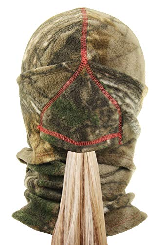 Zeek Outfitter - Realtree Ninja Balaclava with Ponytail Opening | Womens Hunting Gear Camo Clothes | Ladies Balaclava Camouflage Pulldown Mask (Realtree Xtra/Melon)