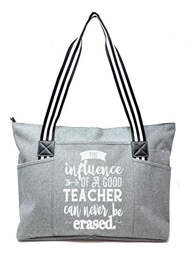 Large Teacher Zippered Tote Bags with Pockets for Teachers - Perfect for Work, Gifts for Educators, Teaching Assistants (Teacher Influence Gray)
