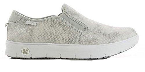 Oxypas Neu Fashion Berufsschuh komfortabeler Sneaker Selina aus Leder antistatisch (ESD) in vielen Farben (38, Silber)