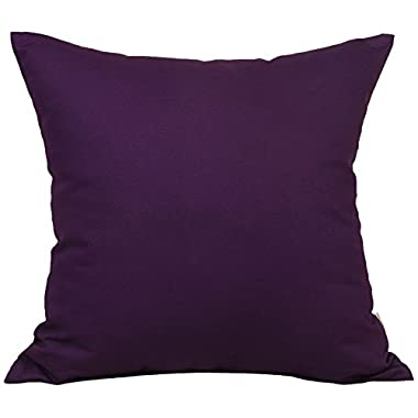 TangDepot Cotton Solid Throw Pillow Covers, 18  x 18  , Purple