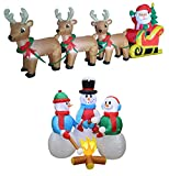 Two Christmas Party Decorations Bundle, Includes 8 Foot Long Christmas Inflatable Santa on Sleigh with 3 Reindeer and Christmas Tree, and 5 Foot Tall Huge Christmas Inflatable Snowmen Snowman Campfire