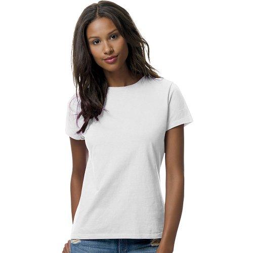 Hanes Womens 4.5 oz., 100% Ringspun Cotton nano-T T-Shirt (SL04)- WHITE,S