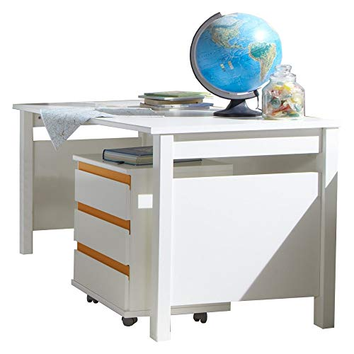 Beauty.Scouts Schreibtisch Smart Donkey, Kinderschreibtisch, Tisch, Arbeitsplatz, Hausaufgaben, Jugendzimmer, Arbeitsplatz Möbel, Arbeitszimmer, Alpinweiß, 140x72x70 cm