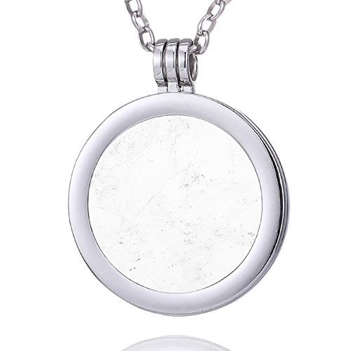 Morella Damen Halskette 70 cm Edelstahl und Anhänger mit Edelstein Bergkristall Coin 33 mm Chakren Scheibe in Schmuckbeutel