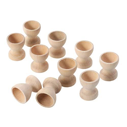 NUOBESTY 10 Stücke Holz Eierbecher zum Bemalen Ostereier Eierständer Eierhalter Eierablage Eierbehälter Eierkocher Eier Dampfgarer Halter Ständer für Kinder Basteln Frühstück Ostern Geschenke