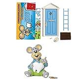 LA PUERTA MÁGICA Puerta mágica del Mickey de los dientes azul + hucha para niños + tarjeta de felicitación (versión italiana) (azul)