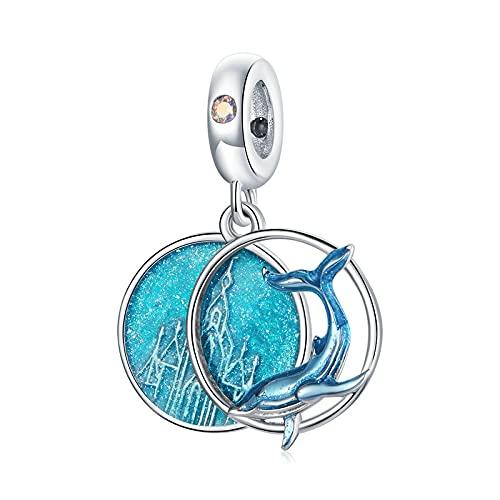 LIJIAN DIY 925 Sterling Jewelry Charm Beads Esmalte Undersea Whales Blue Ocean Hacer Originales Pandora Collares Pulseras Y Tobilleras Regalos para Mujeres