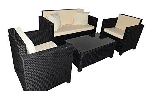 Jet-line Gartenmoebel Cannes Rattan Lounge Möbel schwarz Sessel Sofa Terasse Balkon Polyrattan Gartenausstattung