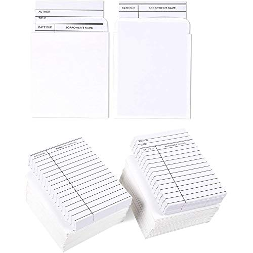 Set of 100 Library Cards and Book Pockets - Library Pockets, Library Card Holder, Book Cards for Public Library Record Keeping, Tracking, Book Borrowing, White