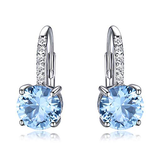 SODIAL Pendientes de Clip Reales para Mujer Piedra Preciosa Azul Cielo Topacio Pendientes Femeninos Boda Redonda Joyas de San ValentíN