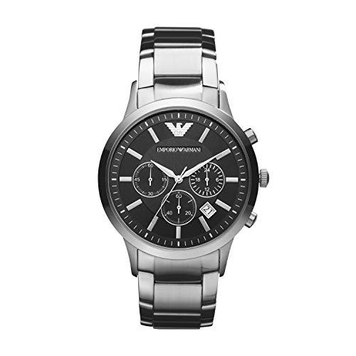 Emporio Armani Herrenuhr Metallband Uhr Chronograph Quarzwerk mit Edelstahl Armband AR2434