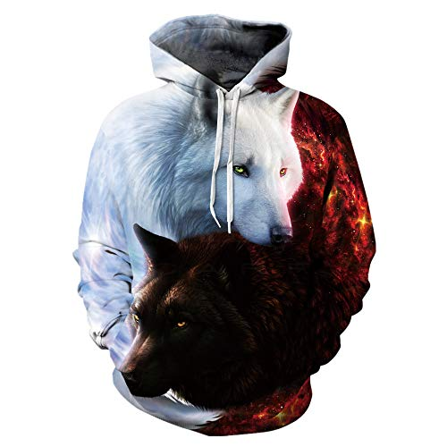 Mchochy Couples 3D Printed Black White Wolf Hoodies Sweatshirt for Men Women (Asia L/XL = US M/L, Taichi Wolf)