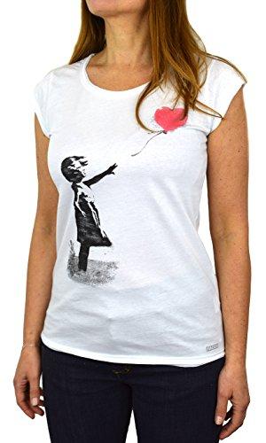 Banksy Balloon Girl 2 kinderen T-shirt voor dames, Made in Italy
