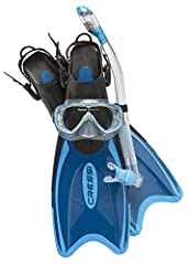 The Palau Bag Set includes the Palau Long Blade Snorkeling Fins, the Onda Mask and Dry Snorkel The Palau Fins are perfect for recreational snorkeling and can fit a wide range of foot sizes due to the adjustable open heel The Onda Mask features temper...