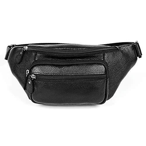 Bolsa de Mensajero Teléfono Deportivo Bolsa de Cintura al Aire Libre Multifuncional Cuero Bolsa de Hombro Sunshine20 (Color : Black)