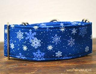Collare per cani martingale: Snowflakes, fatto a mano in Spagna da Wakakán