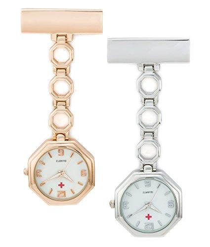 SEWOR reloj para Enfermeras Y médico cerámica banda colgante reloj de bolsillo – con profundo azul marca piel caja gran regalo (Octágono)