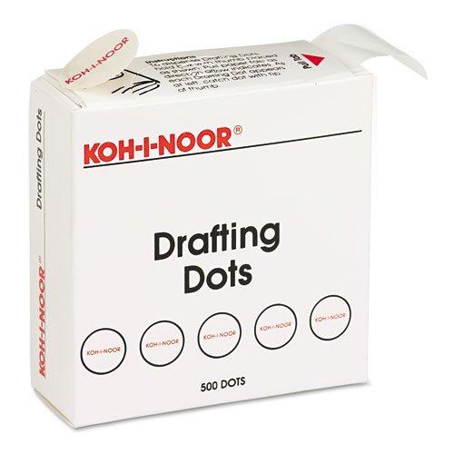 - Adhesive Drafting Dots w/Dispenser, 7/8in Dia, White, 500/Box