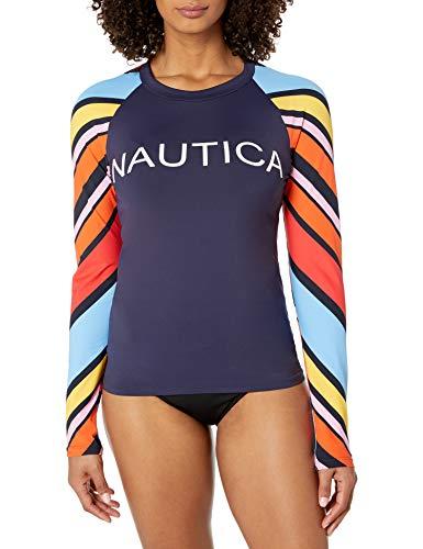 Nautica Damen Raglan Rashguard Rash Guard Hemd, Newport Stripe, Small