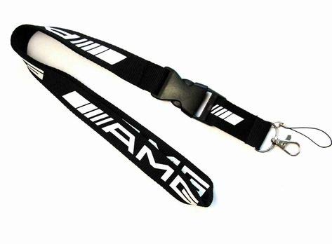 A Sports Car Accessory Fabric Lanyard Neck Strap Detachable Clip Black Stripe for Car Key ID Card Mobile Phone Badge Holder