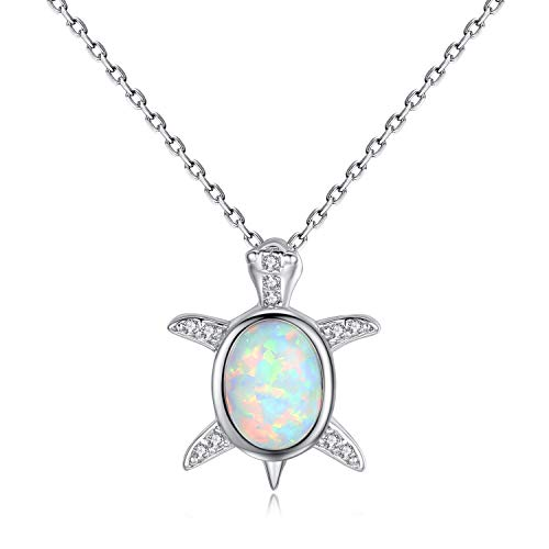 VIKI LYNN Women Girls 925 Sterling Silver Created Opal Baby Sea Turtle Necklace