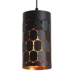 Contemporary Pendant Light with Cylindrical Metal Cage, One-Light Adjustable Industrial Mini Pendant Lighting Fixture for Kitchen Island Cafe Bar, Gold Inner and Black Finish