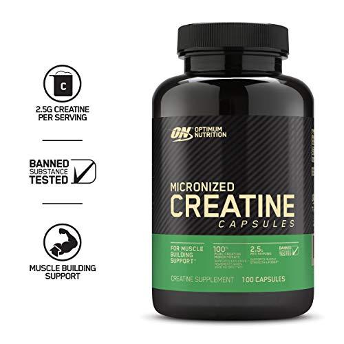 Optimum Nutrition Micronized Creatine Monohydrate Capsules, Keto Friendly, 2500mg, 100 Capsules