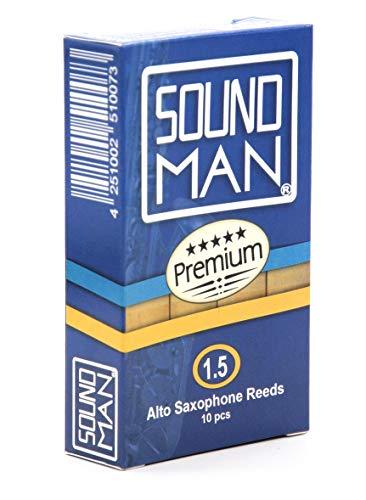 Soundman® Blättchen für Altsaxophon Blätter Reeds Alt Saxophon Saxophonblättchen Saxophonblätter Rohrblättchen Rohrblätter 1 Schachtel 10 Stück