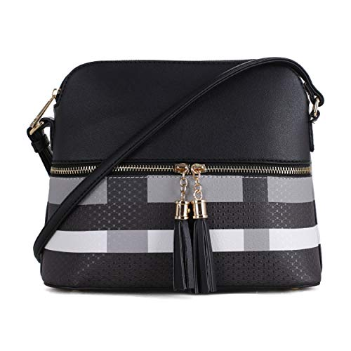 SG SUGU Lightweight Medium Dome Crossbody Bag with Tassel | Plaid Pattern | Black/Black
