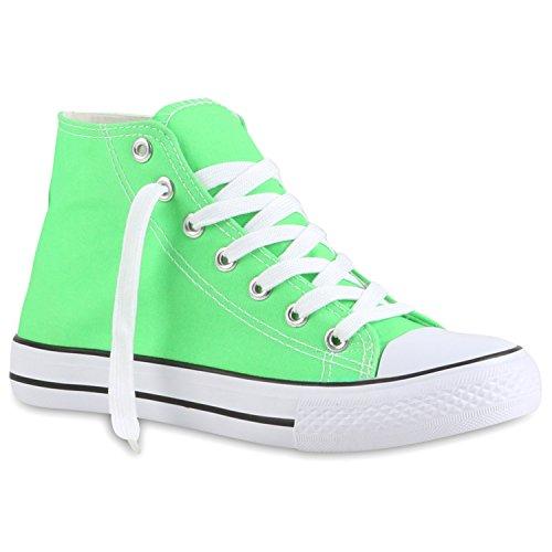 stiefelparadies Sportliche Damen SneakersStoff Camouflage Schnürer Sneaker High Neon Sport Schuhe 118969 Hellgrün 37 Flandell
