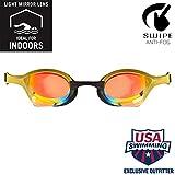 arena Cobra Ultra Swim Goggles, Yellow Copper / Gold, Swipe Anti-Fog Mirror (NEW)
