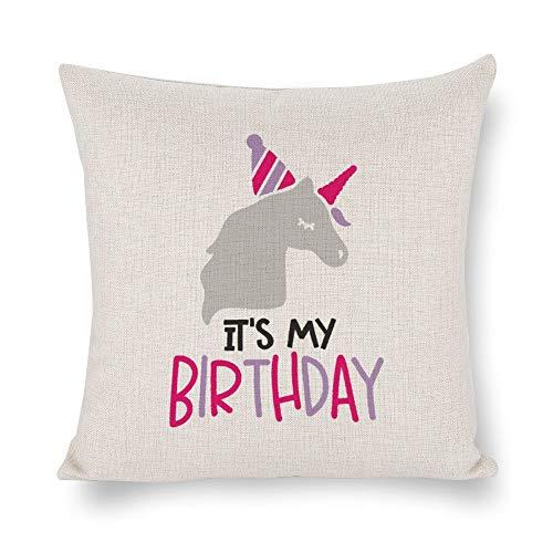 Funda de cojín None Brand It's My Birthday, linda funda de cojín de unicornio, lino rústico decorativo, almohada lumbar decorativa para silla, habitación, sofá, coche, decoración del hogar, regalo de inauguración de la casa, 45,7 x 45,7 cm