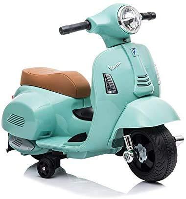 子供用 電動乗用玩具 Vespa GTS mini H1 ベスパ ライセンス品 補助輪付 乗用バイク 乗り物おもちゃ (グリーン)