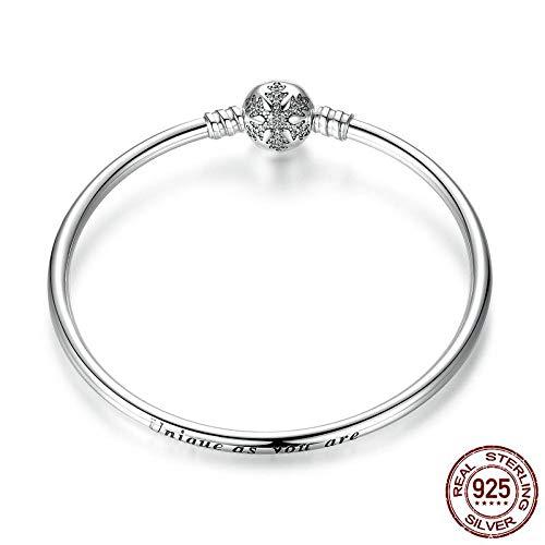 KHDZB 925 Sterling Silber Gravieren Schneeflocke Verschluss Einzigartig Wie Sie Schlangenkette Armband & Armreif DIY Schmuck 17 cm