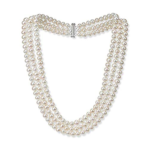 TreasureBay: Halskette mit Süßwasserperlen, 7 mm, Weiß, 3 Stränge