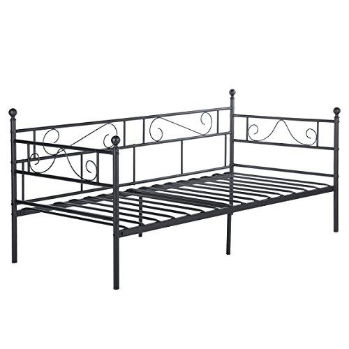 EGGREE Sofá Cama Metálica diván Cama Individual Marco de Cama para Niños Habitación Habitación Dormitorio Balcón Jardín Cama Negro