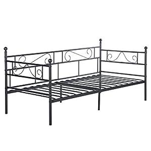 setsail Sofá Cama Metálica diván Cama de Metal Marco de Cama para niño o Adultos 95 x 195 cm Negro