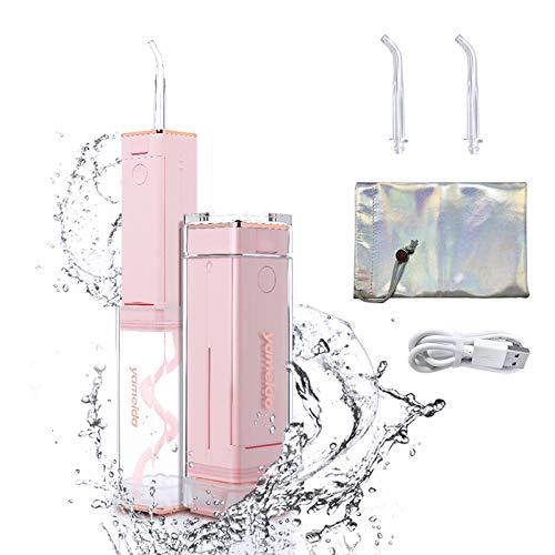 Munddusche Elektrische Kabellos, Tragbare Oral Irrigator mit 60ml Wassertank, Wasserdicht USB Aufladen Wasser Flosser Zahnsteinentferner und 2 Düsen