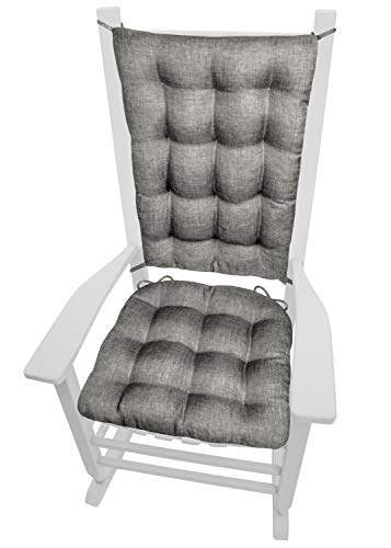 Hayden Grey Rocking Chair Cushions - Size Extra-Large - Latex Foam Filled Seat Pad and Back Rest Cushion - Machine Washable, Reversible, Linen Look ( XL / Gray )