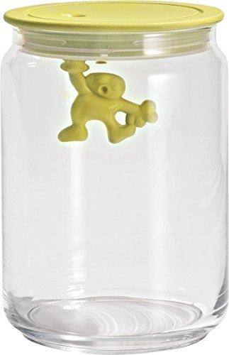 """Alessi \""""Gianni\"""" Küchendose aus Glas mit abgedichtem Deckel, thermoplastischem Harz, gelb"""