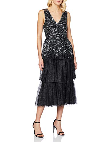 Frock and Frill Kandice Embellished Midi Dress Vestito da Sera Formale, Black, Medium Donna