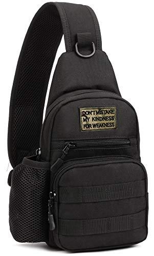 BlesMaller Taktische Schultertasche Militär MOLLE Crossbody Pack Brust Schulterrucksack mit Wasserflaschenhalter Tasche EDC Windel Motorrad Fahrrad Tagesrucksack,SCHWARZ(Patch enthalten)