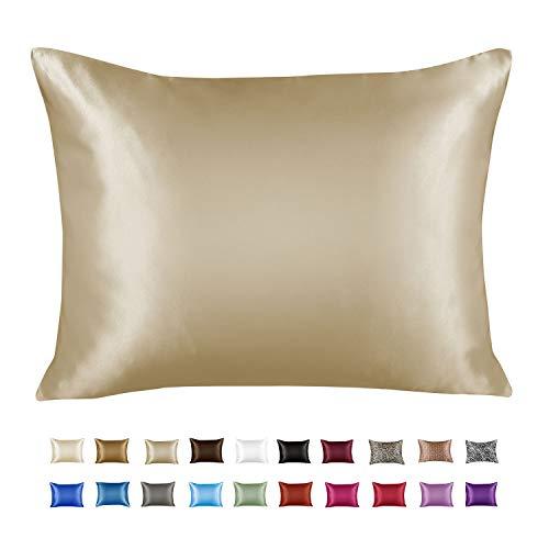 ShopBedding Luxury Satin Pillowcase for Hair – Standard Satin Pillowcase with Zipper, Champagne (1 per Pack) – Blissford