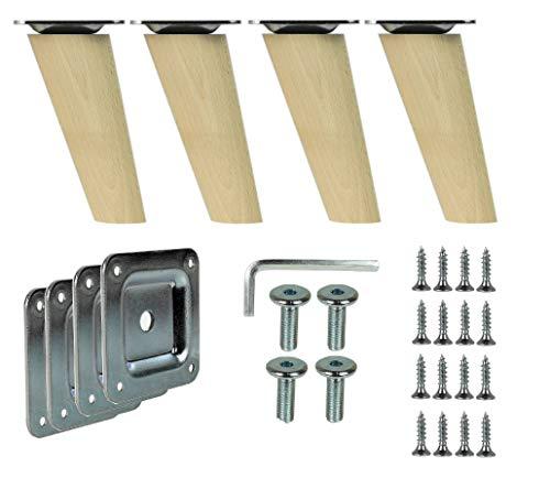 Prima Online 4x Holzfüße Möbelfüße Sofafüße Buche Holzbeine schräg Länge 10cm Buche Holz Oberfläche sauber (Schräg [10 CM]) prima-online_de