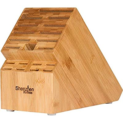 20 Slot Bamboo Universal Knife Block Without Knives. Knife Storage Organizer and Holder by Shenzhen Knives.