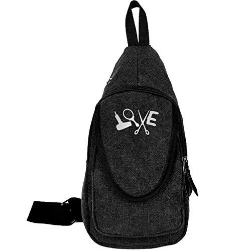 Hairstylist Love 0 Canvas Brusttasche für Camping Wandern Anti-Diebstahl Rucksack für Jungen Mädchen Kaffee