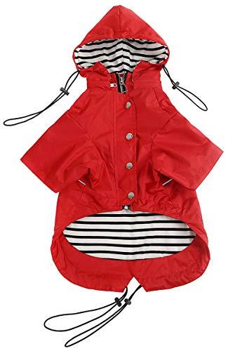 Morezi Dog Zip Up Dog Raincoat with Reflective, Rain/Water Resistant, Adjustable Drawstring, Removable Hood, Stylish Premium Dog Raincoats - Red - M